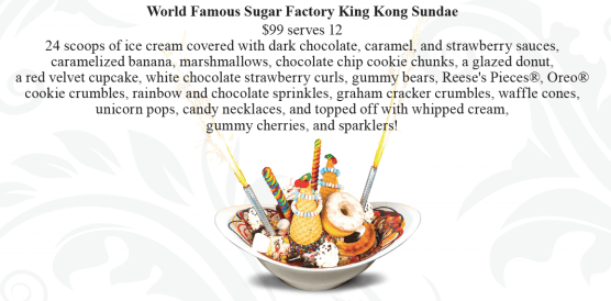 The world famous Sundae at Sugar Factory - image copyright Sugar Factory