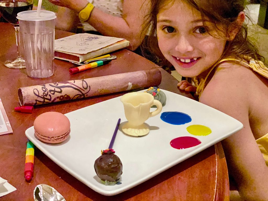Be Our Guest dessert with Chip the cup! Disney with kids, Best Magic Kingdom Restaurants For Families