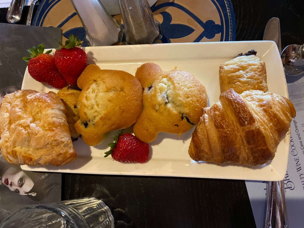 Mickey muffins and pastries at breakfast in Magic Kingdom in Cinderella's castle
