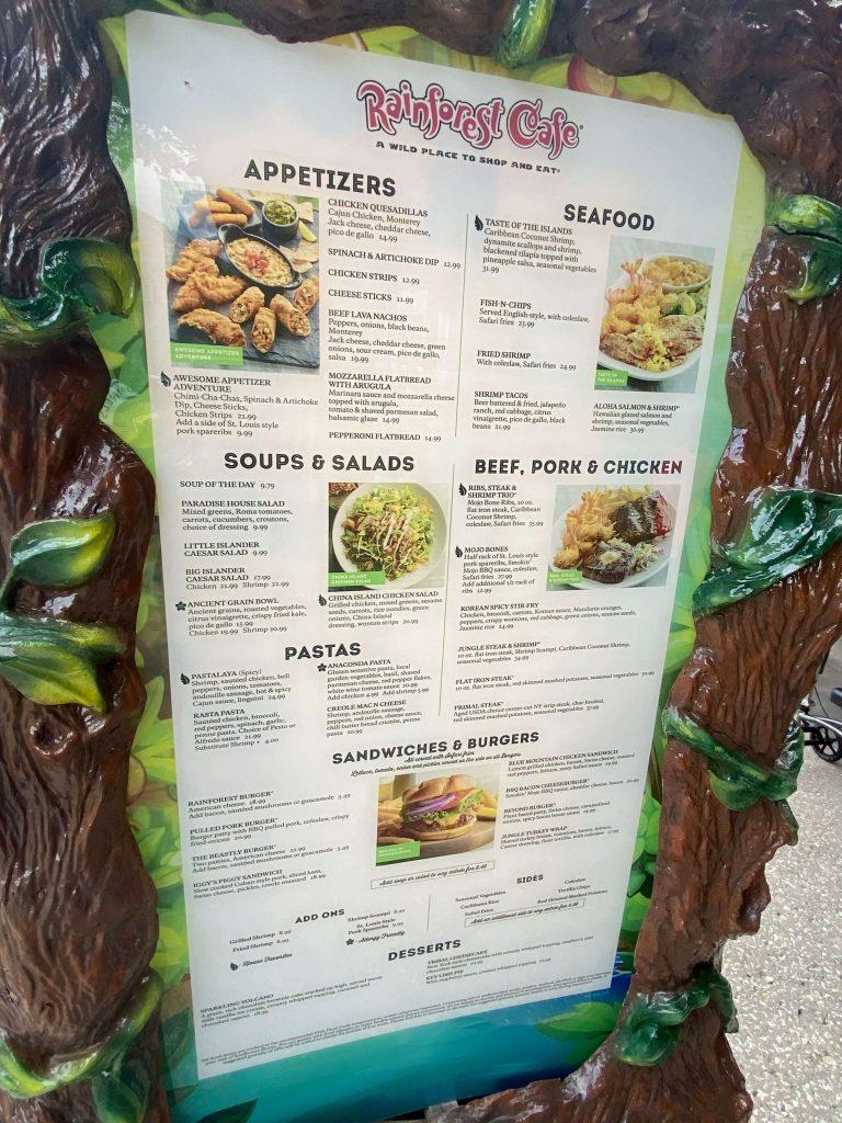 rainforest Cafe Menu at Disney